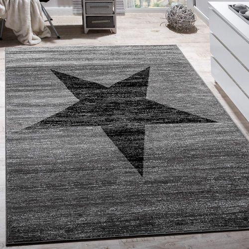 Designer Teppich Stern Muster Modern Trendig Kurzflor Meliert In Grau Schwarz