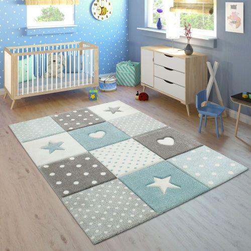 Kinderteppich Kinderzimmer Kariert Punkte Herzen Sterne In Pastell Blau Grau