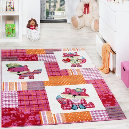 Teppich Kinderzimmer niedliche Füchse Kinderteppich Fuchs Mehrfarbig Pink Creme