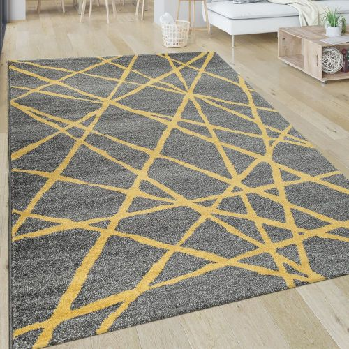 Teppich Wohnzimmer Muster Gestreift Modern Kurzflor Abstrakt Linien In Gelb Grau