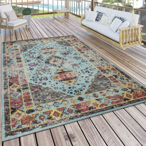 Outdoor Teppich Türkis Blau Balkon Terrasse orientalisches Design Vintage Weich