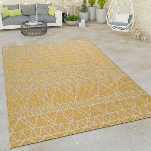 In- & Outdoor Flachgewebe Teppich Modern Ethno Muster Zickzack Design In Gelb
