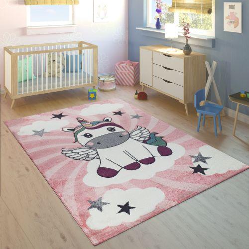 Kinderteppich Kinderzimmer Mädchen Einhorn Wolken