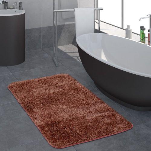 Moderner Hochflor Badezimmer Teppich Einfarbig Badematte Rutschfest In Terrakotta