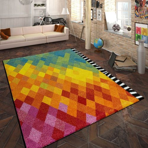Designer Teppich Rauten Design Multicolor
