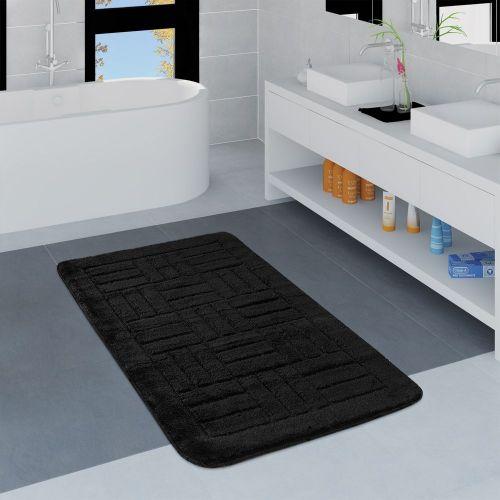 Moderner Badezimmer Teppich Badvorleger Kariertes Muster Einfarbig In Schwarz