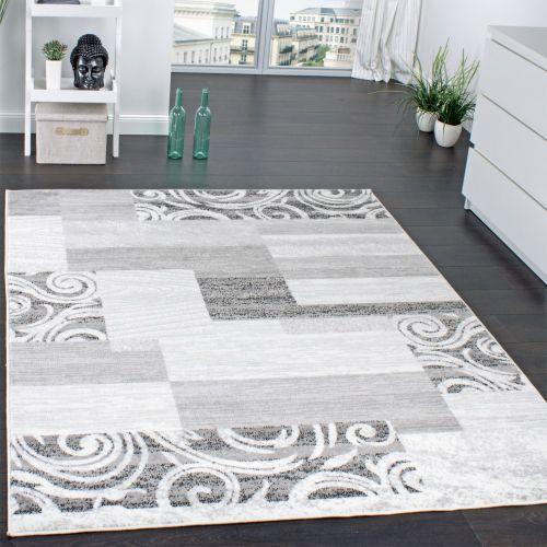 Designer Teppich Wohnzimmer Teppich Kurzflor Muster in Grau Creme Preishammer