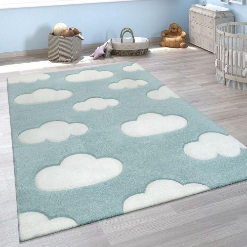 Teppich Kinderzimmer Pastellfarben Wolken Design