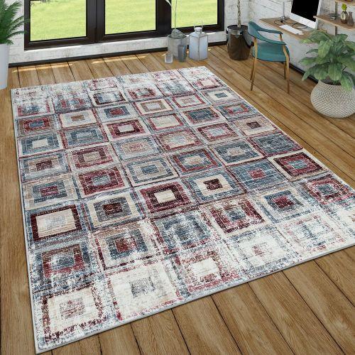 Kurzflor Wohnzimmer Teppich Used-Look Modern Geometrisches Design Vintage Bunt