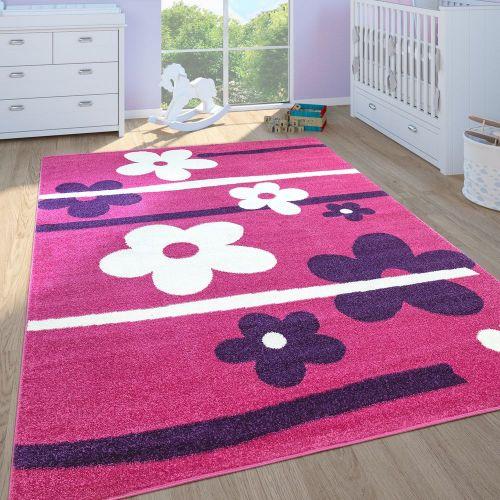 Kinderteppich Kinderzimmer Spielteppich Kurzflor Motiv Blumen In Pink Lila