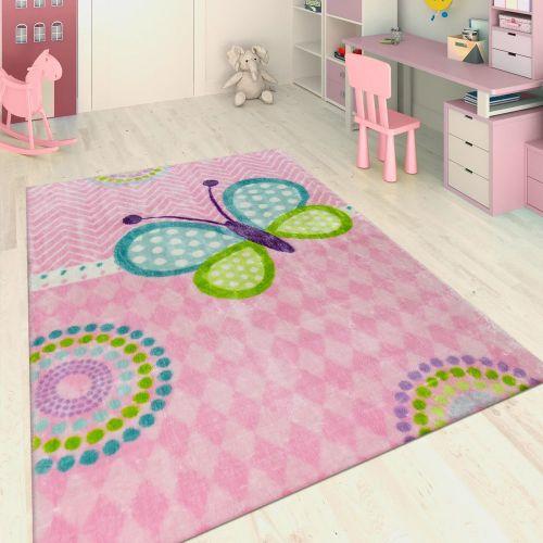 Handgetuftet Kinderteppich Schmetterling Rosa
