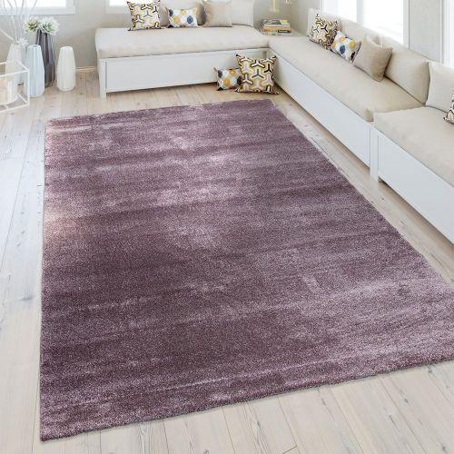 Kurzflor Teppich Einfarbig Pastell Lila