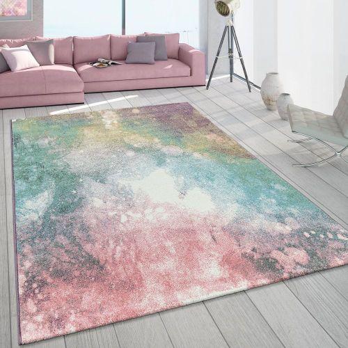 Teppich Wohnzimmer Bunt Rosa Grün Türkis Pastell Farbverlauf Robust Kurzflor
