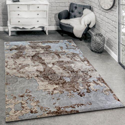 Designer Teppich Modern Wohnzimmerteppich Floral Ornament Grau