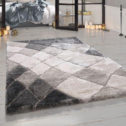 Teppich Karo Design Used Look Viereck Kurzflor