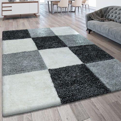Hochflorteppich Karo Muster Grau