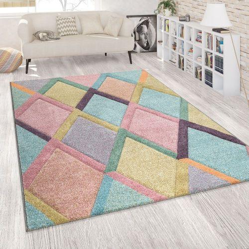 Teppich Bunt Wohnzimmer Rauten Muster Pastellfarben 3-D Design Weich Kurzflor
