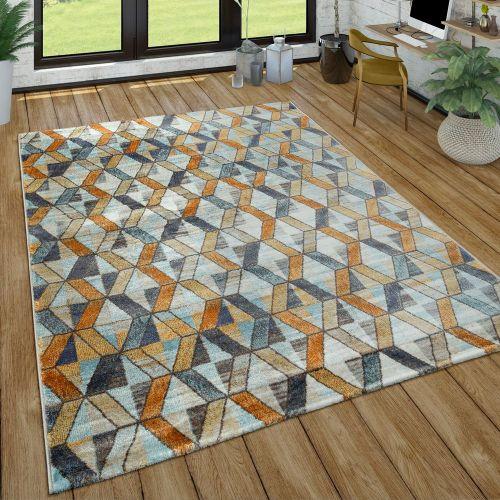 Kurzflor Teppich Wohnzimmer Used-Look Abstrakt Modern Industrie Style In Bunt