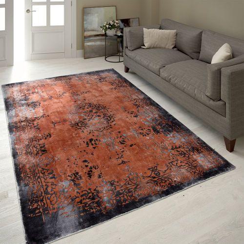 Vintage Teppich Ornamente Terrakotta Handgefertigt