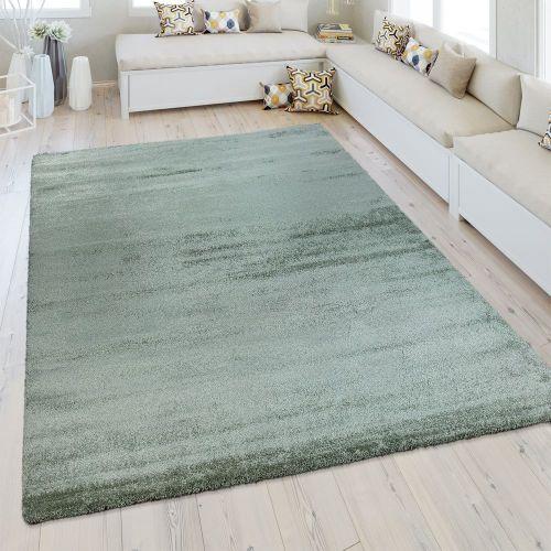 Kurzflor Teppich Einfarbig Pastell Grün