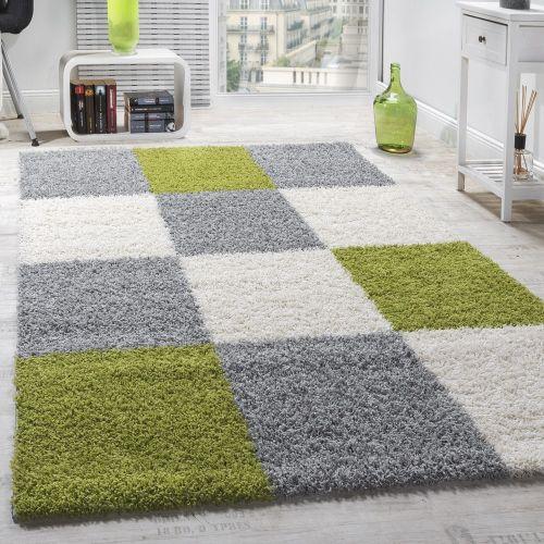 Moderner Hochflor Teppich Shaggy Karo Muster Zottel Teppiche Grün Grau Weiß