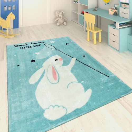 Handgetuftet Kinderteppich Hase Blau