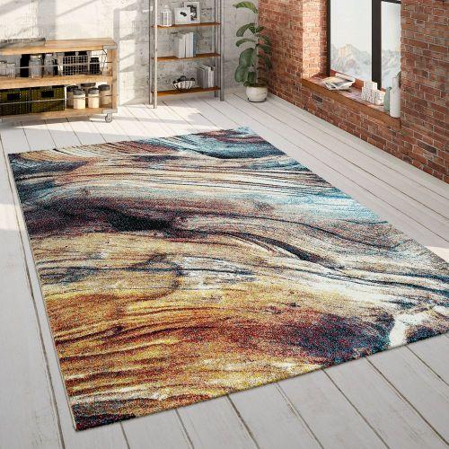 Wohnzimmer Teppich Bunt Abstraktes Muster 3-D Design Weich Robust Kurzflor