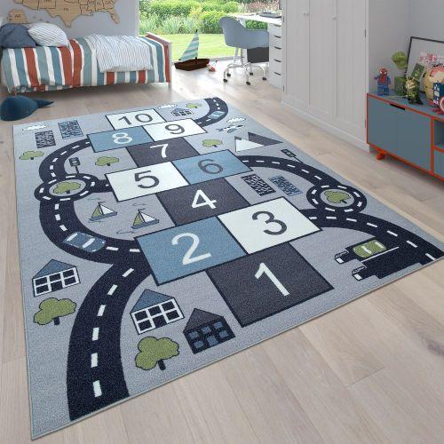 Kinderteppich Spielteppich Hüpfkästchen Straßen