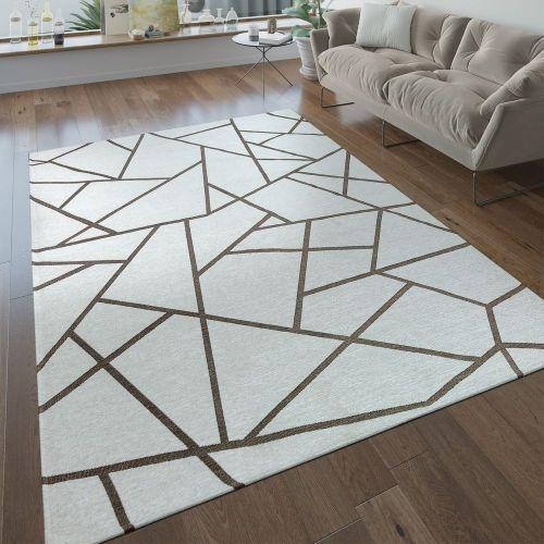 Kurzflor Wohnzimmer Teppich Geometrische Muster Modern Beige Creme